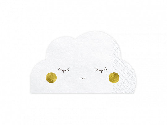 20 serviettes Little Star nuage - blanc/or