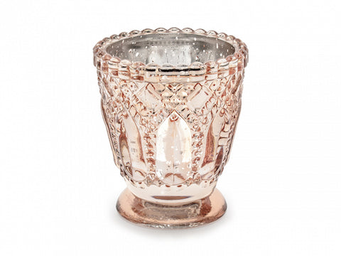 Bougeoir verre ornements rose-gold