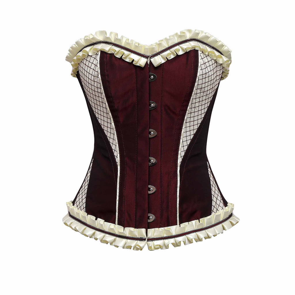 Kovac Burgundy Maroon Cream Embroidery Taffeta Overbust Corset With Frill - Corsets Queen US-CA