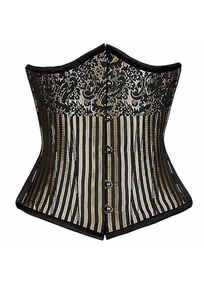 CANDY IVORY/BLACK STRIPE BRO - Corsets Queen US-CA