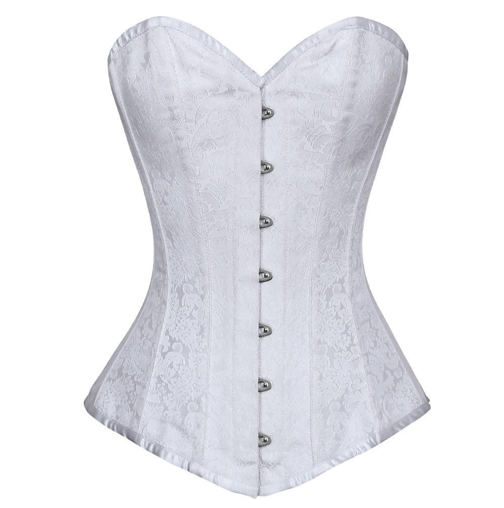 3d55dba79fb Maryna Longline Overbust Corset- White Brocade Corset With Antiquee YKK  Zipper Dress – Corsets Queen US-CA