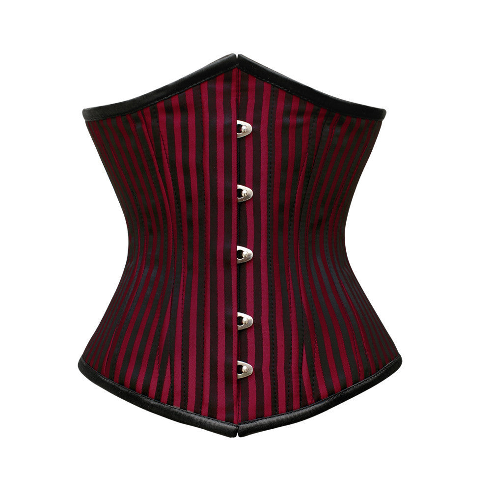 WT-UB RED/BLACK STRIPE JACQ - Corsets Queen US-CA
