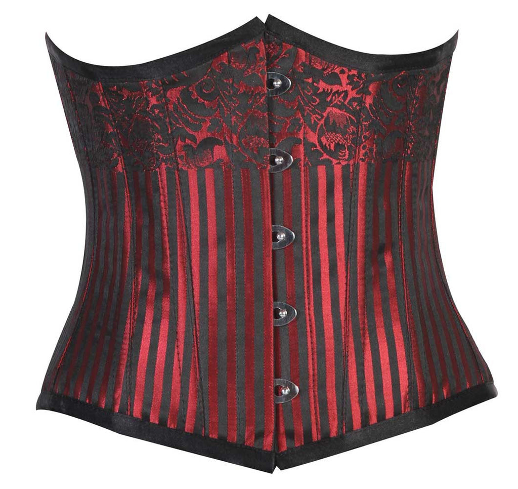 CANDY RED/BLACK STRIPE BRO - Corsets Queen US-CA