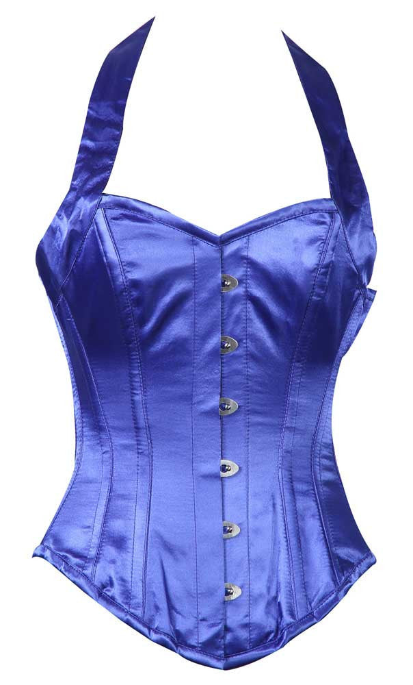 HALTER NECK BLUE SATIN - Corsets Queen US-CA