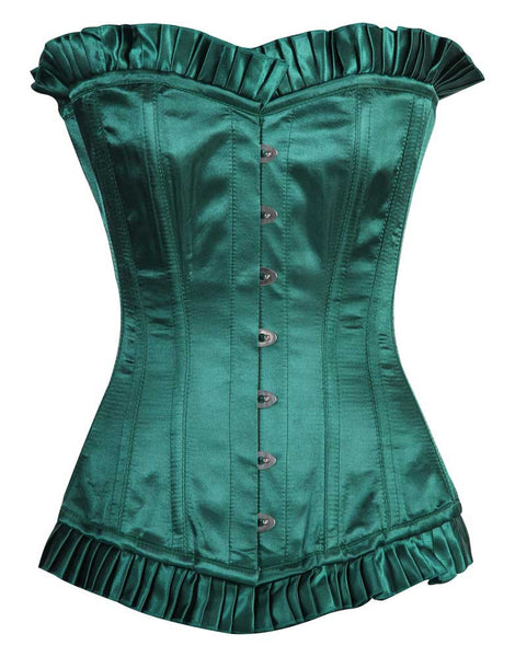 ACA GREEN SATIN OVERBUST CORSET DRESS