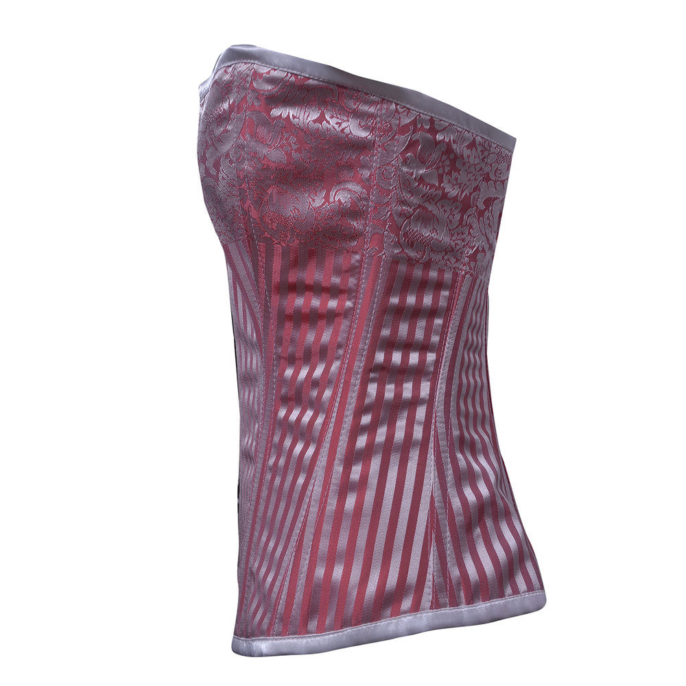 97d146a9904 ELEGANT RED  SILVER STRIPE BRO- Red and Silver Plus Size Corset ...