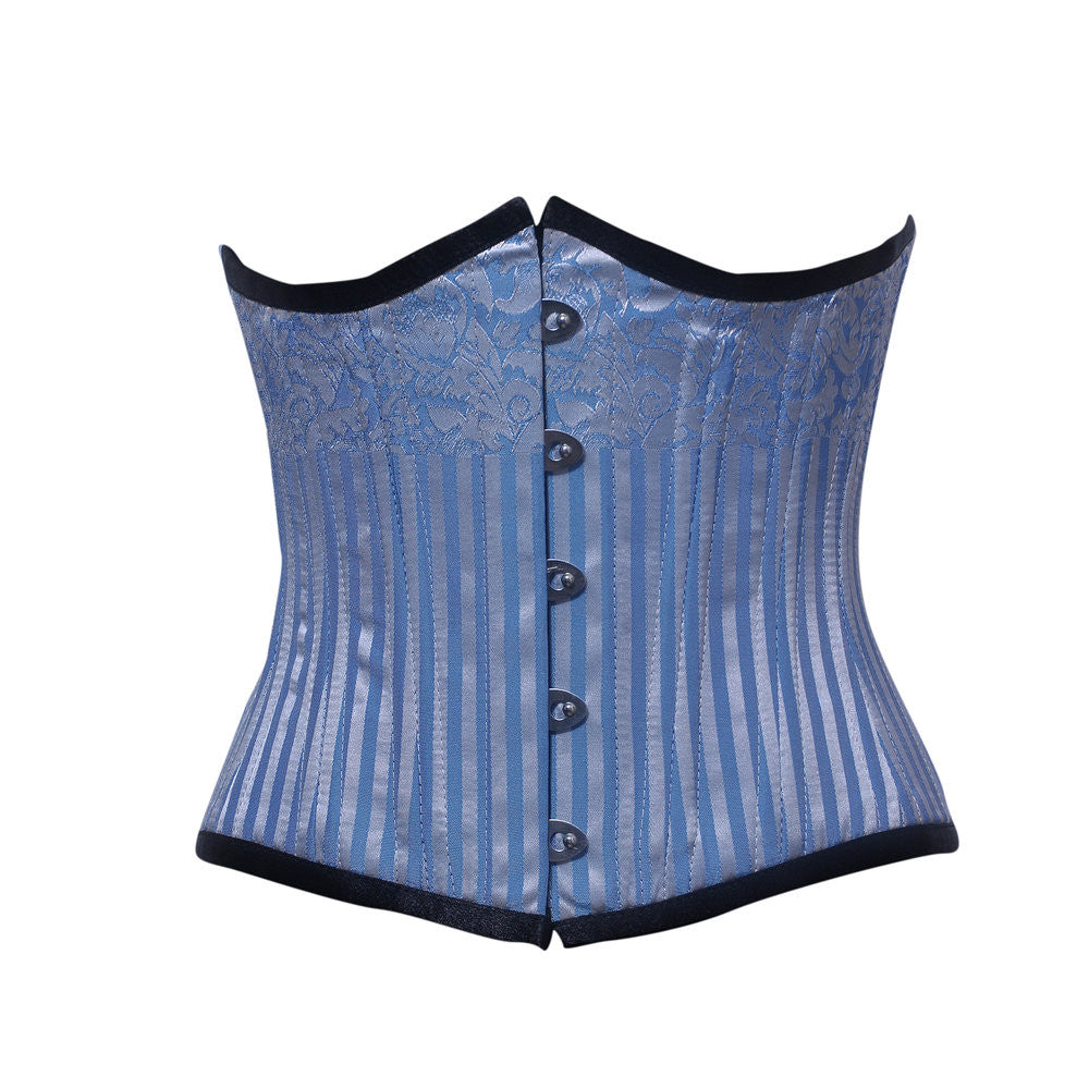WT-UB TURQUOISE/SILVER STRIPE BRO - Corsets Queen US-CA