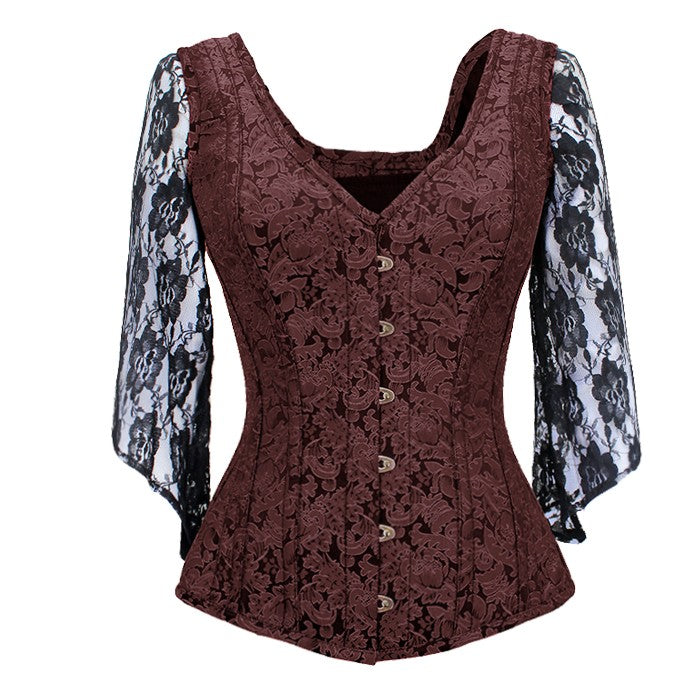 Nila Brocade Shoulder Straps Overbust Steel Boned Corset
