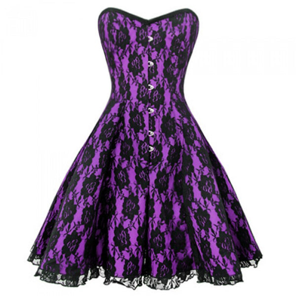 Niya Gothic Net Overlay Corset Dress