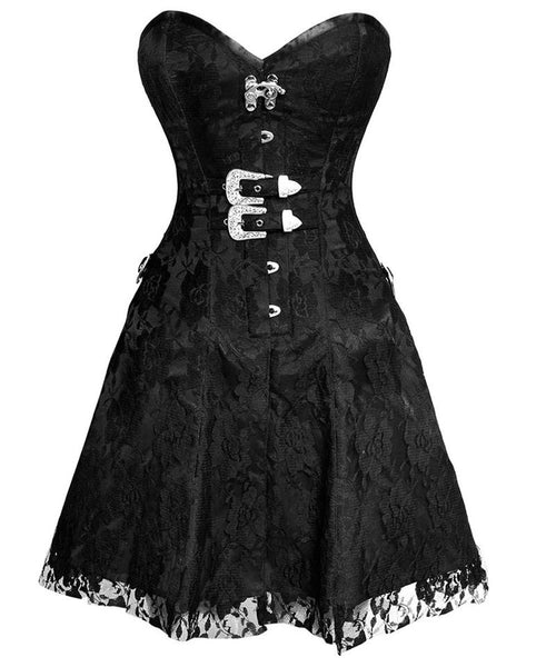 Noel Gothic Net Overlay Corset Dress