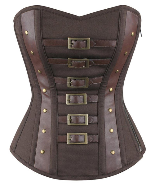 Zion Overbust Steampunk Cotton Corset - Corsets Queen US-CA