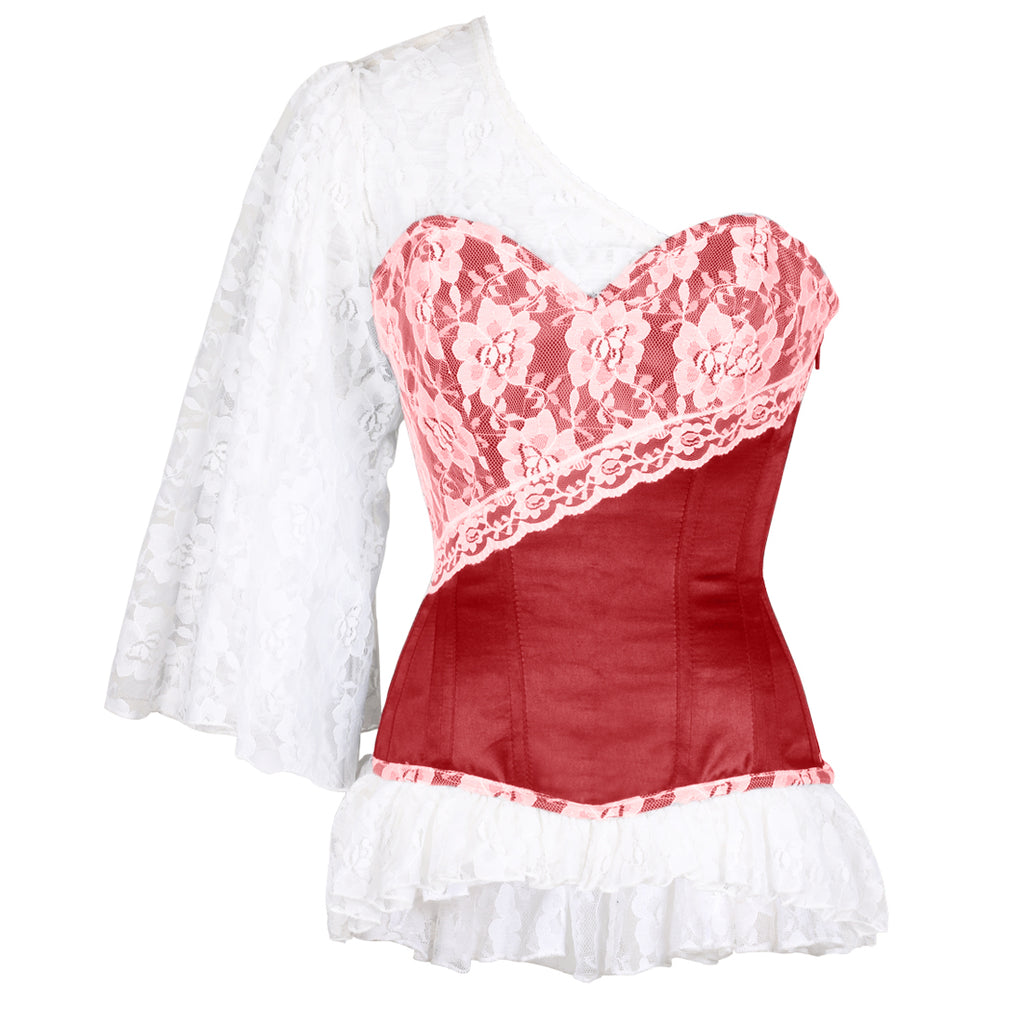 87fd38a28ed Adalwin Laced Cloud Maroon Overbust Corset- Maroon   White Corset ...