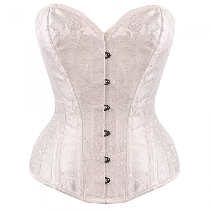 Jace White Brocade Bridal Overbust Corset - Corsets Queen US-CA