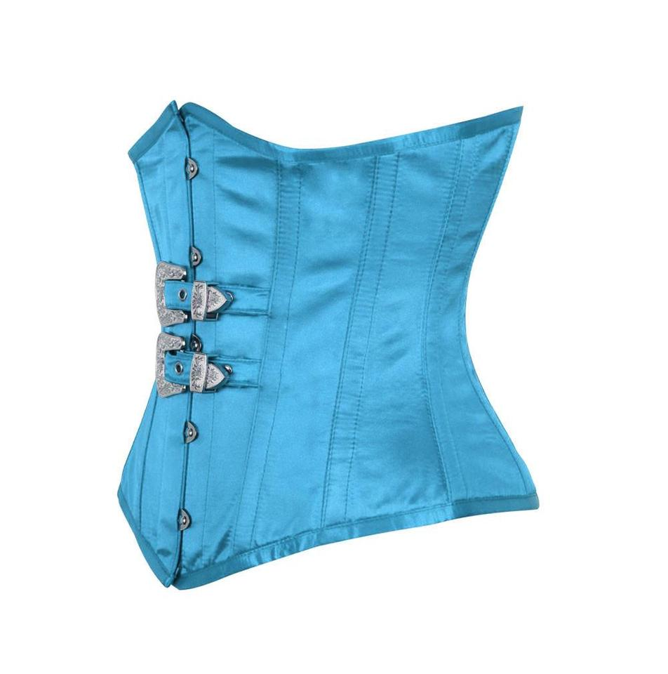 9278f54f91 Glynis Underbust Corset with Front Buckle-Turquoise Satin Corset ...