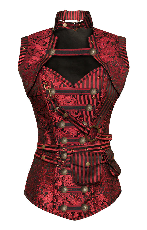 Judi Red Steampunk Corset With Red Removable Pouch - Corsets Queen US-CA