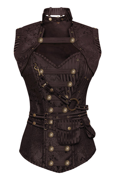 Winslet Brown Steampunk Corset With Brown Removable Pouch - Corsets Queen US-CA