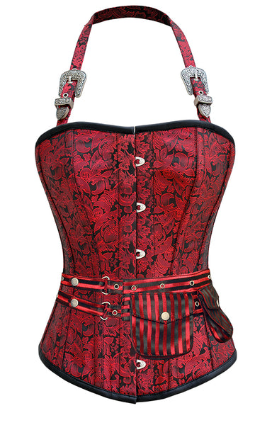 Weisz Red Corset with Strap and Pouch - Corsets Queen US-CA