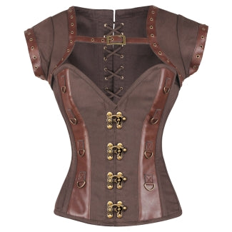 Ben Brown Steampunk Cotton Corset with Shrug - Corsets Queen US-CA