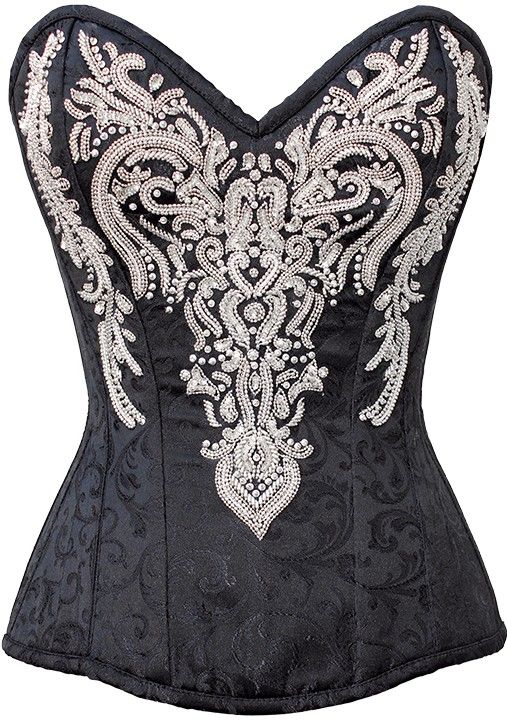 Mariaah Black Embroidered Corset