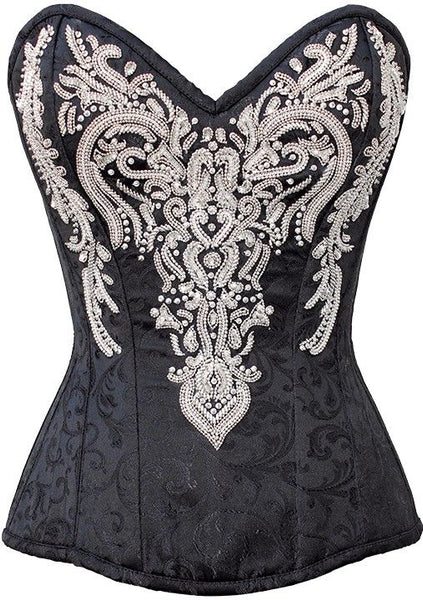 Mariaah Black Embroidered Corset - Corsets Queen US-CA