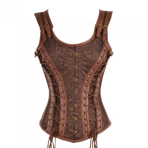 Delle Steampunk Overbust Corset - Corsets Queen US-CA