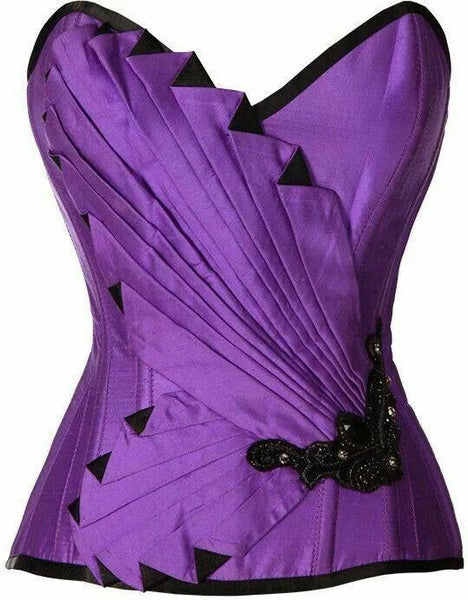 Courtnay Purple Satin Embroidered Overbust Corset - Corsets Queen US-CA