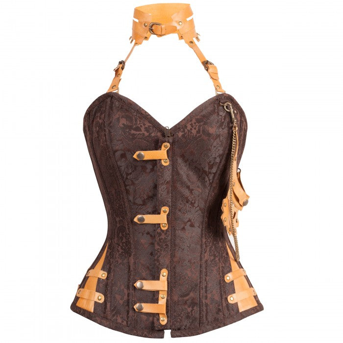 Hall Brown Steampunk Corset With Attached Neck Gear