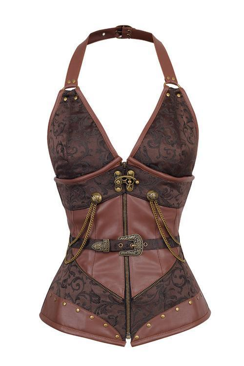 Clark Brown Halter Neck Steampunk Corset - Corsets Queen US-CA