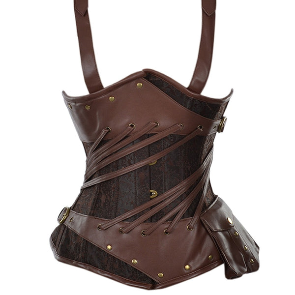 Borrego Brocade And Faux Leather Steampunk Underbust Corset - Corsets Queen US-CA