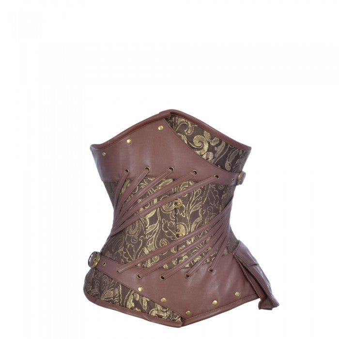 Fowler Golden Brown Steampunk Underbust Corset - Corsets Queen US-CA