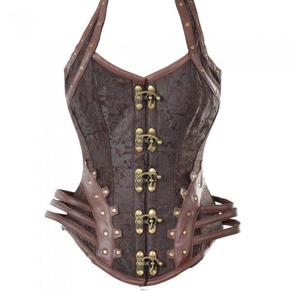 Daley Brown Steampunk Corset With Hip Straps And Neckholder - Corsets Queen US-CA
