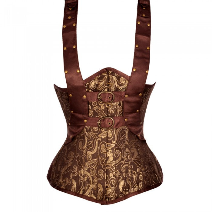 Andriani Brown And Gold Brocade Underbust With Shoulder Strap - Corsets Queen US-CA