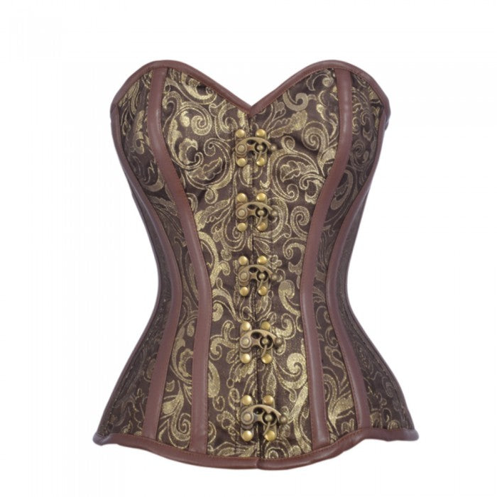 Carbonero Brown And Gold Brocade Steampunk Corset - Corsets Queen US-CA