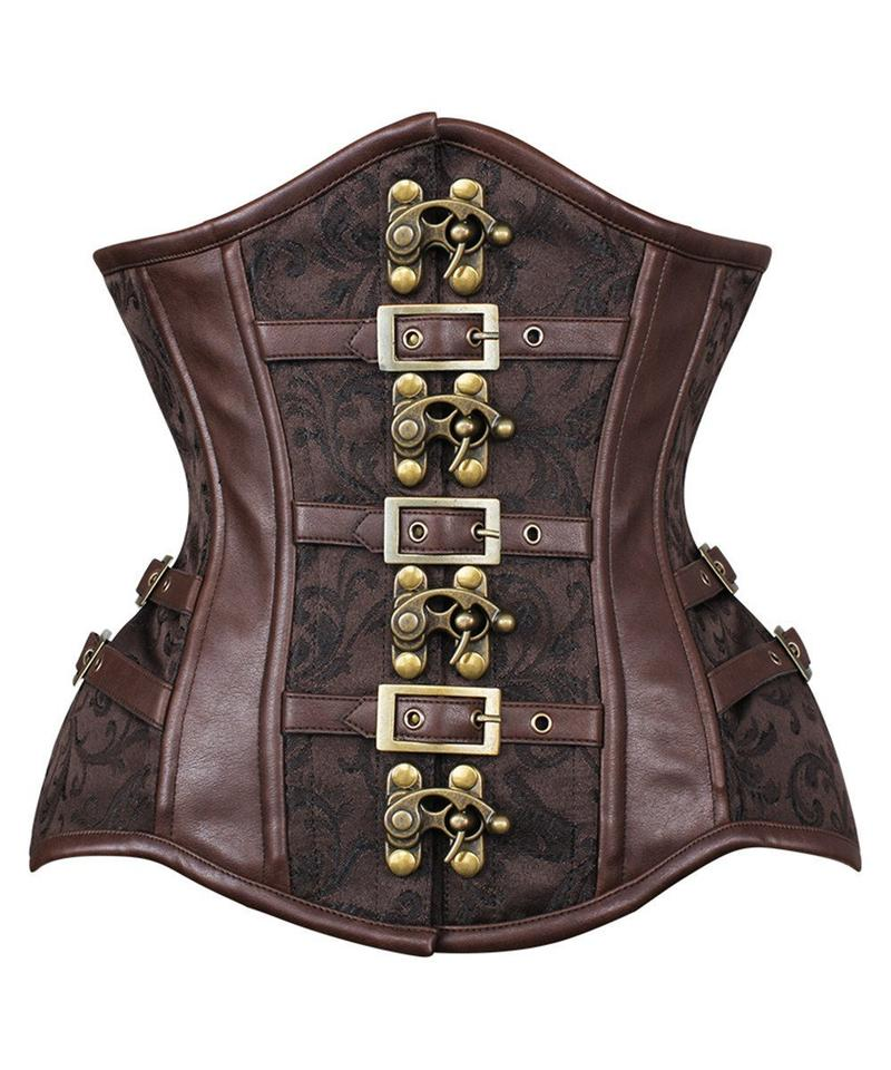 Admetaa New Curvy Waist Trainer with Buckle in Brocade - Corsets Queen US-CA
