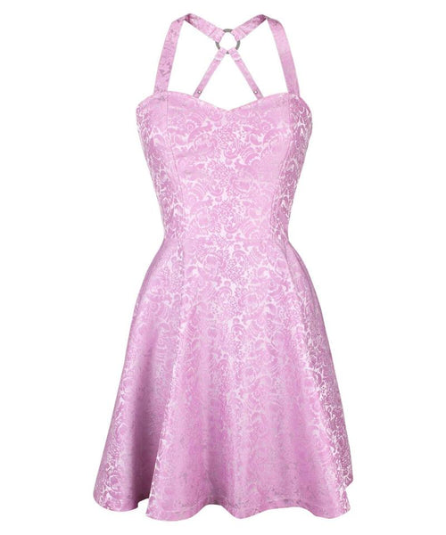 Cadel Pink Skater Corset Dress in Brocade