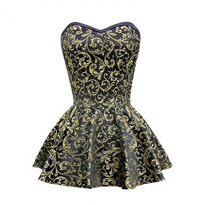 Buffon Gold & Black Peplum Corset Dress - Corsets Queen US-CA