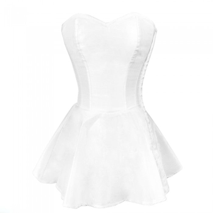 Sandro White Satin Peplum Corset Dress