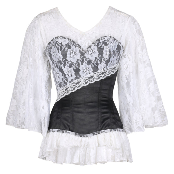 Dominic Laced Cloud Black Overbust Corset