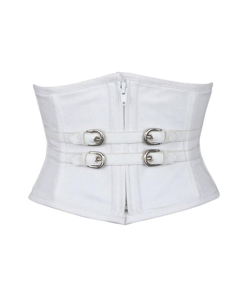 Aedrre White Waist Cincher Underbust Corset in 100% Cotton - Corsets Queen US-CA