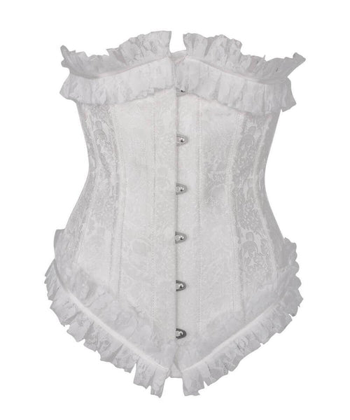 Achaia Spiral Steel Boned White Underbust Corset with Lace Frill