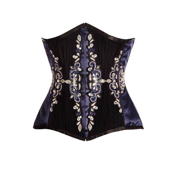 Digwa Blue Satin Underbust Couture Corset