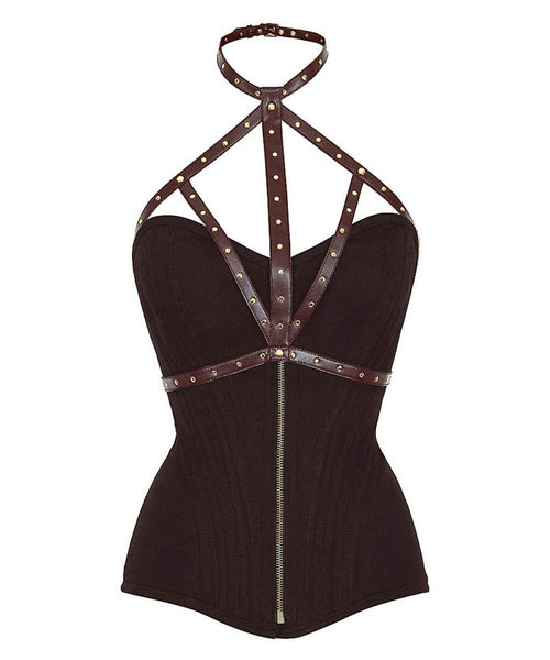 Bannruod Brown Cotton Overbust Corset With Neck Gear - Corsets Queen US-CA
