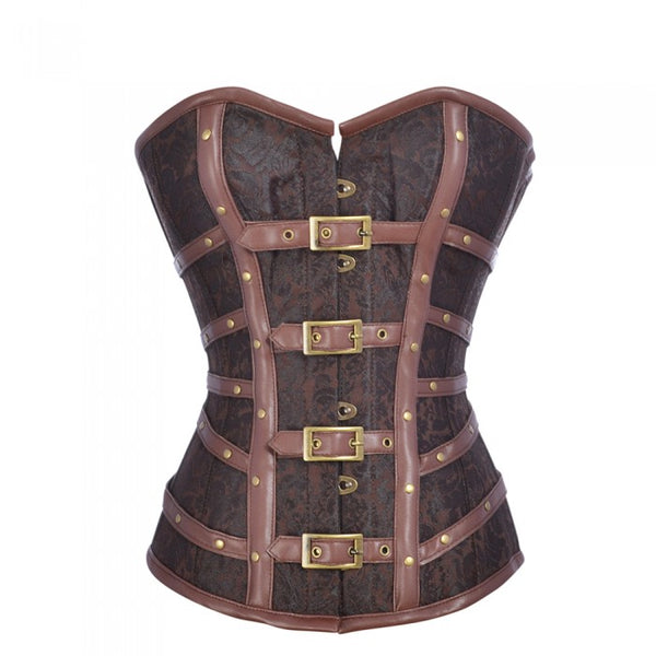 Benji Brown Steampunk Corset with Buckle Detail - Corsets Queen US-CA