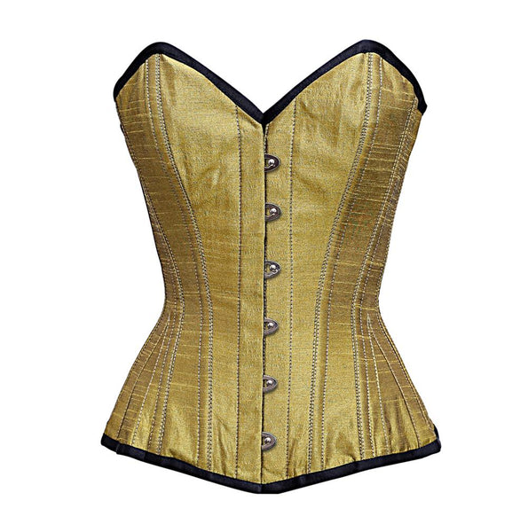 Abigail Gold dupion Overbust Corset - Corsets Queen US-CA