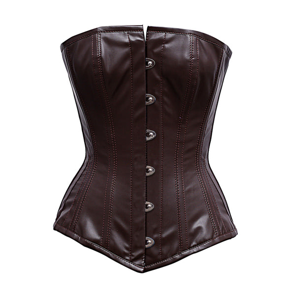Zimmi Steel Boned Brown Faux Leather Corset