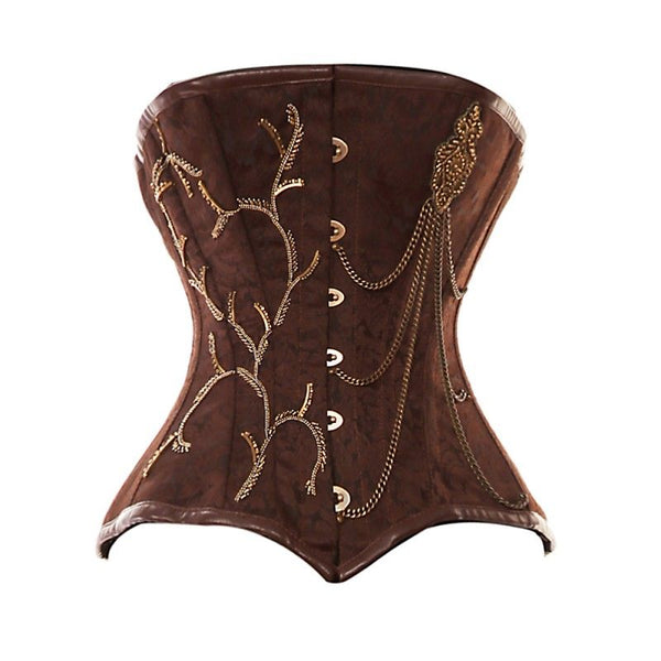 Woods Brown Brocade Pattern With Gold Chain Detailing - Corsets Queen US-CA