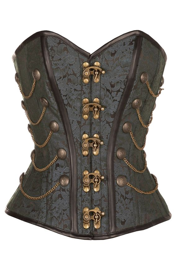 Wyile Black Steampunk Corset With Chains