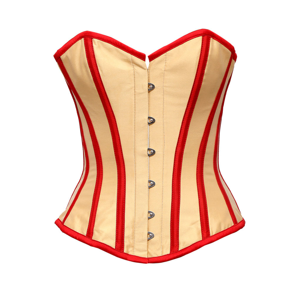 Chilwel Beige Taffeta Overbust Corset With Red Taffeta Trim - Corsets Queen US-CA