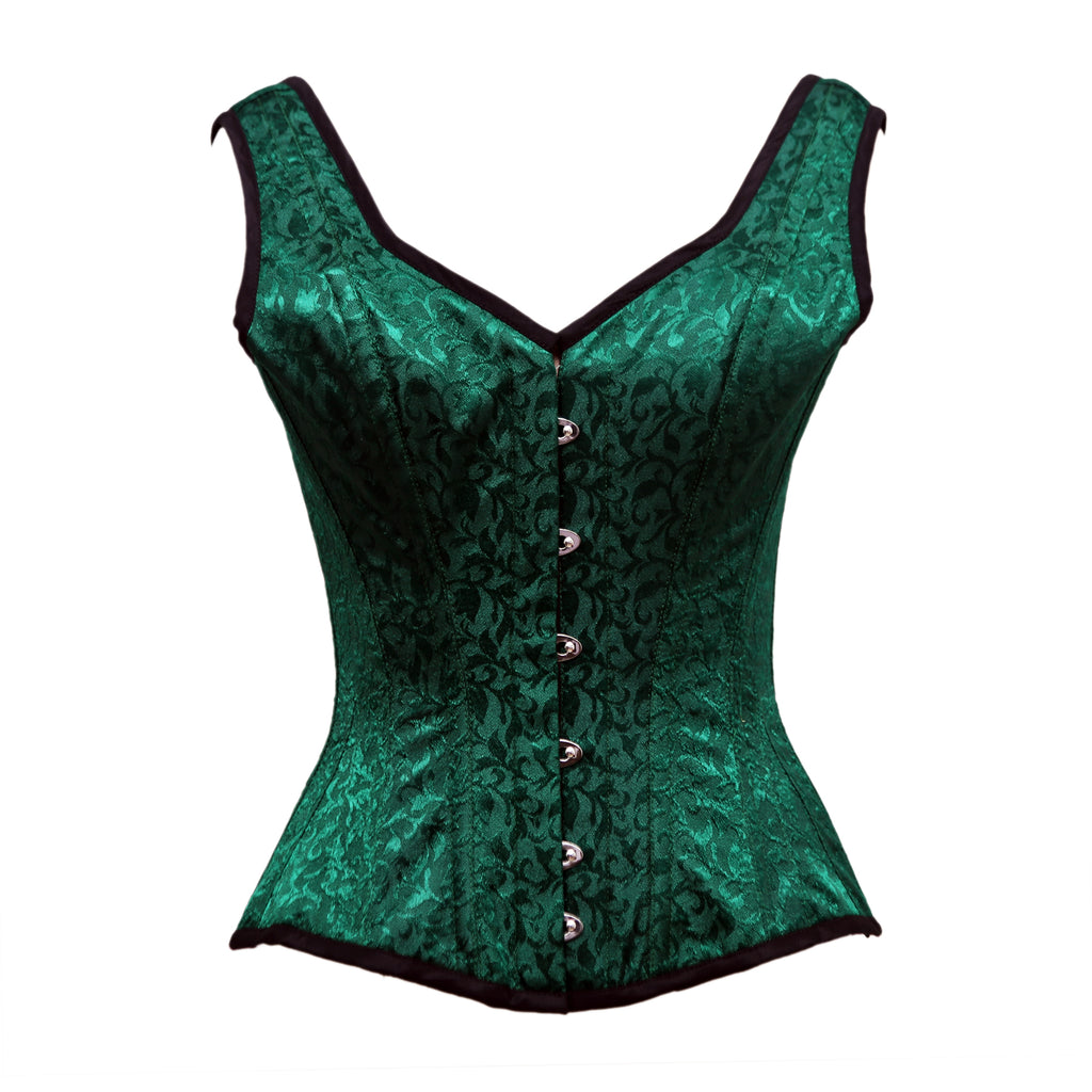 Grayseon Green Satin Brocade Overbust Corset With Shoulder Strap - Corsets Queen US-CA