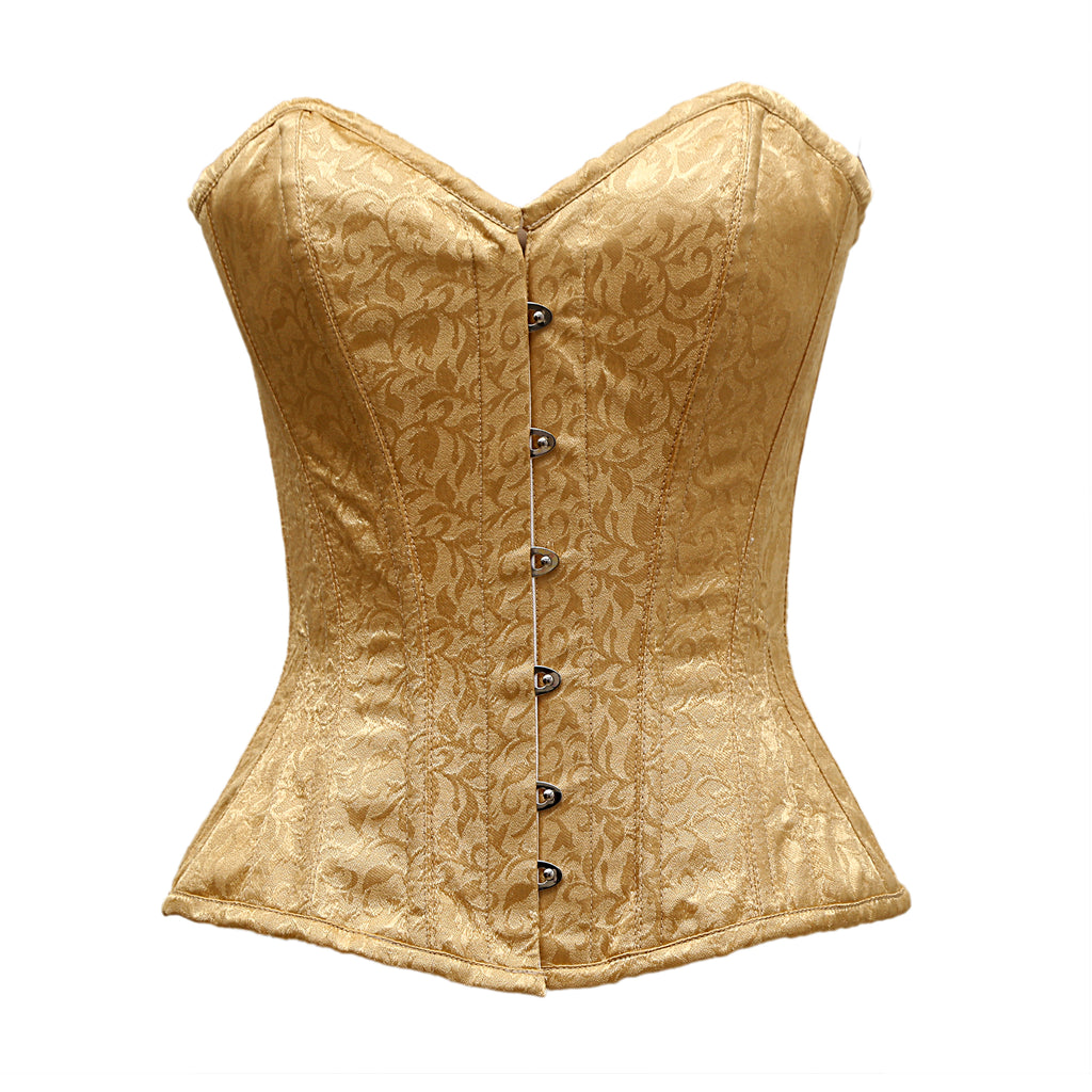Healy Golden Satin Brocade Overbust Corset - Corsets Queen US-CA